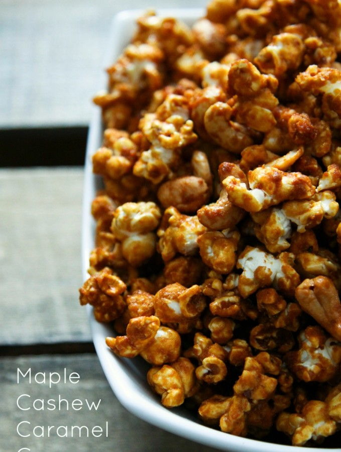 Cashew Maple Caramel Corn made with or without bourbon from foodiewithfamily.com