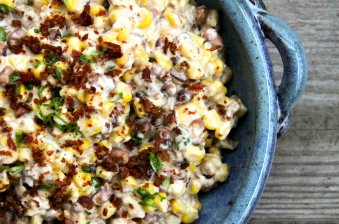 Slow-Cooker Black-Eyed Pea Dip with Corn and bacon from foodiewithfamily.com