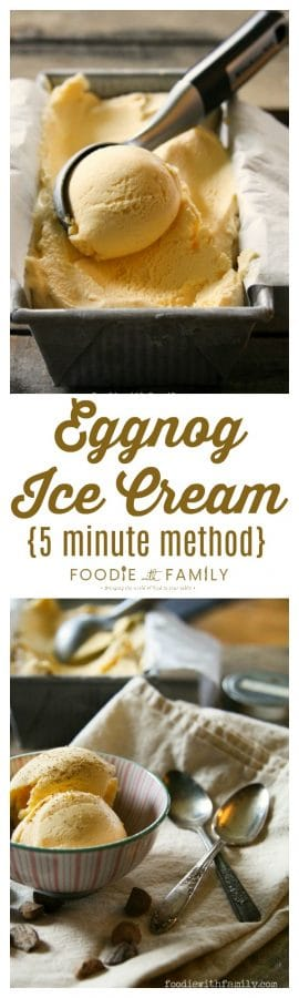 Eggnog Ice Cream {5 Minute Methods} is creamy, ridiculously simple, and worlds better than the stuff you buy at the store!