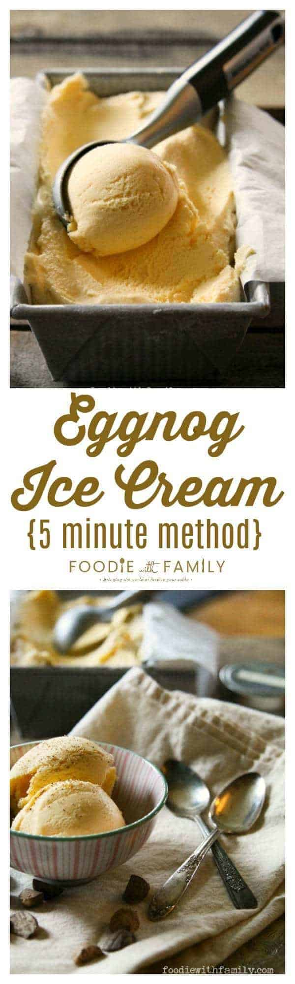 Eggnog Ice Cream {5 Minute Method} is creamy, ridiculously simple, and worlds better than the stuff you buy at the store!