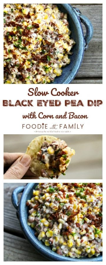 Slow-Cooker Black-Eyed Pea Dip with Corn and Bacon is absolutely BURSTING at the seams with black eyed peas and corn in a creamy cheese sauce.