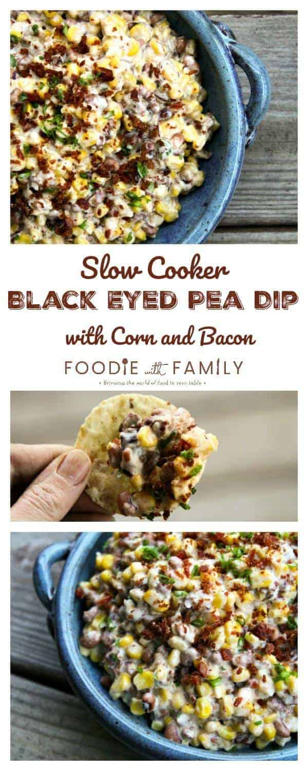 Slow-Cooker Black-Eyed Pea Dip with Corn and Bacon is absolutely BURSTING at the seams with black eyed peas, corn, and bacon in a creamy cheese sauce.