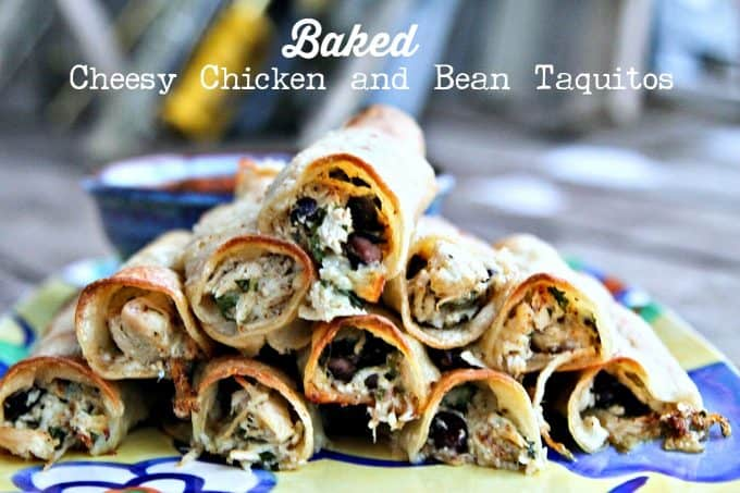 Baked Cheesy Chicken and Bean Taquitos from foodiewithfamily.com