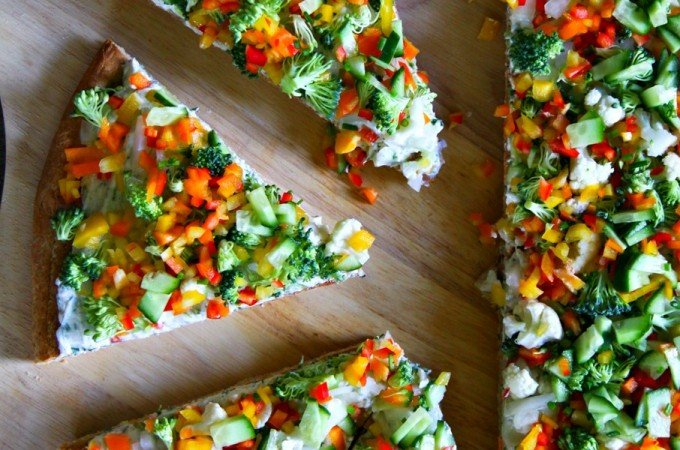 Ranch Cream Cheese Vegetable Pizza