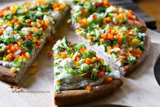 Snacky Ranch Cream Cheese Vegetable Pizza from foodiewithfamily.com