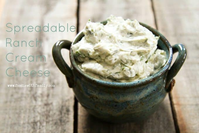 Ranch flavoured cream cheese that is spreadable straight from the refrigerator from foodiewithfamily.com
