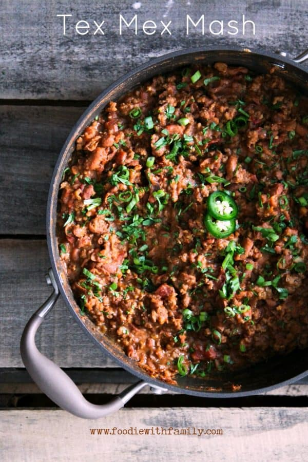 Tex Mex Mash: smashed pinto beans, seasoned browned ground beef, and ...