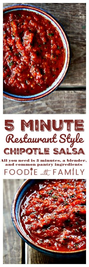 Five Minute Restaurant Style Chipotle Salsa is just the right level of spicy and tastes so fresh! Bonus: it is made in 5 minutes in a blender!