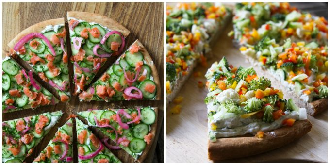 Snack pizzas made with Spreadable Ranch Cream Cheese by foodiewithfamily.com