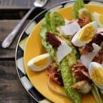 Blackened Salmon Caesar Salad hard boiled eggs Parmesan from foodiewithfamily.com