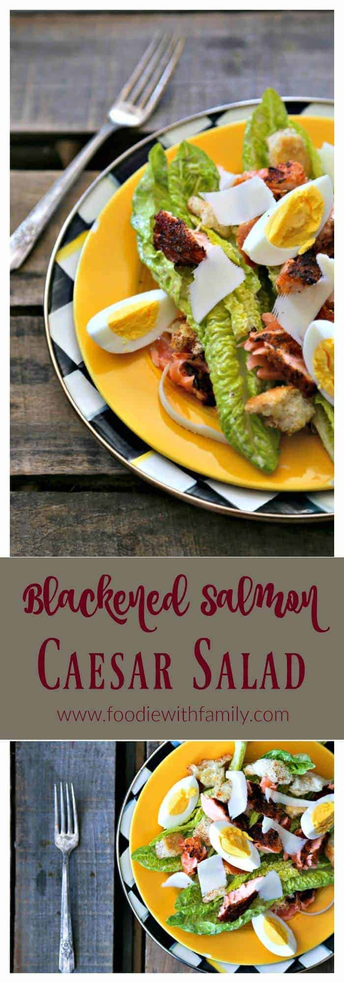 Simple, fresh, and filling main dish salad for spring! Blackened Salmon Caesar Salad with torn croutons, hard boiled egg, homemade dressing, and flaked blackened salmon gives the traditional Caesar salad a flavourful facelift!