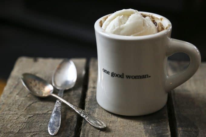 snickerdoodle mug cake cinnamon vanilla ice cream