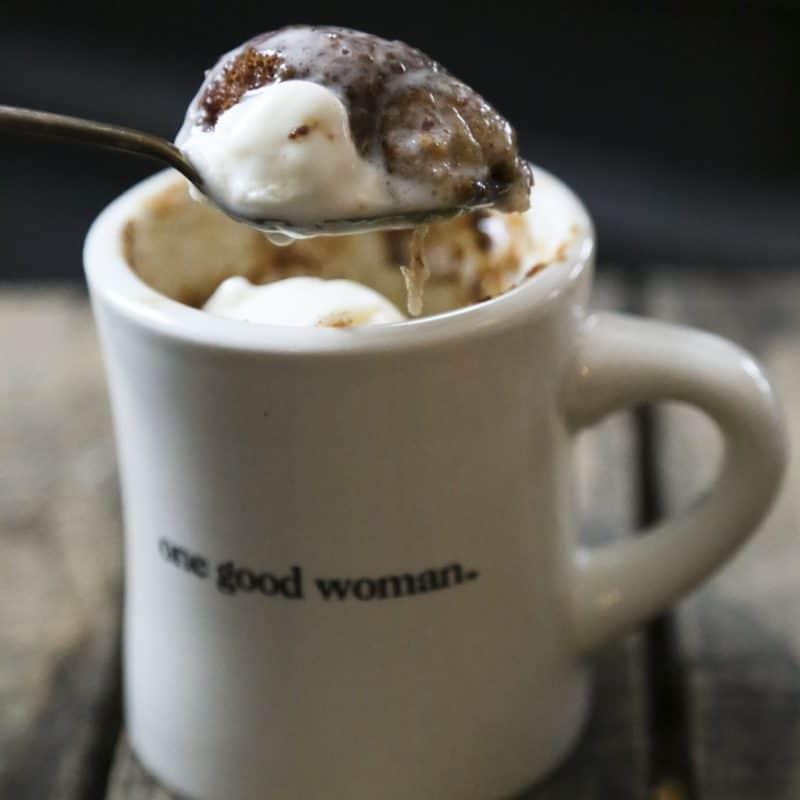 ice cream snickerdoodle mug cake