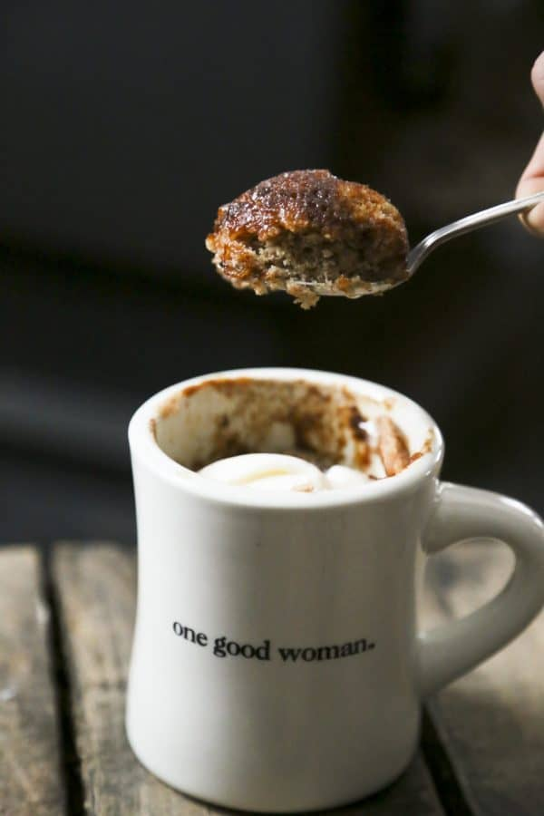 tender moist snickerdoodle mug cake
