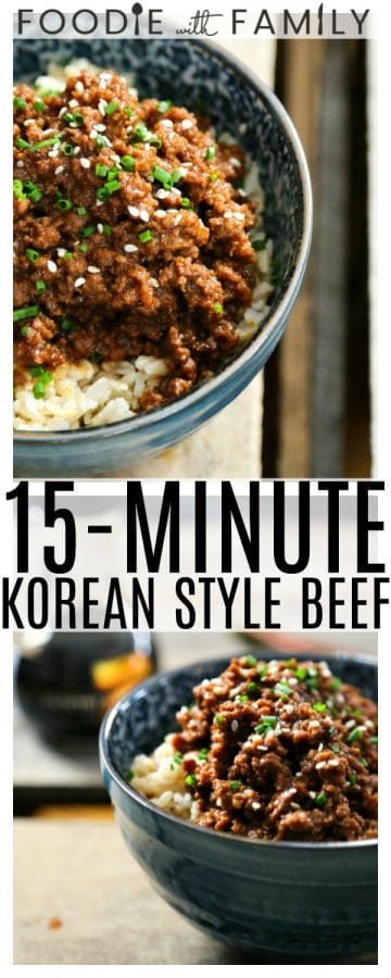15 Minute Korean Style Beef is a lightning fast entree reminiscent of Korea's classic bulgogi's sweet and spicy elements, but is done in 15 minutes and is significantly easier on the wallet, substituting ground beef for the usual flank steak or tenderloin, without sacrificing any of the deliciousness!