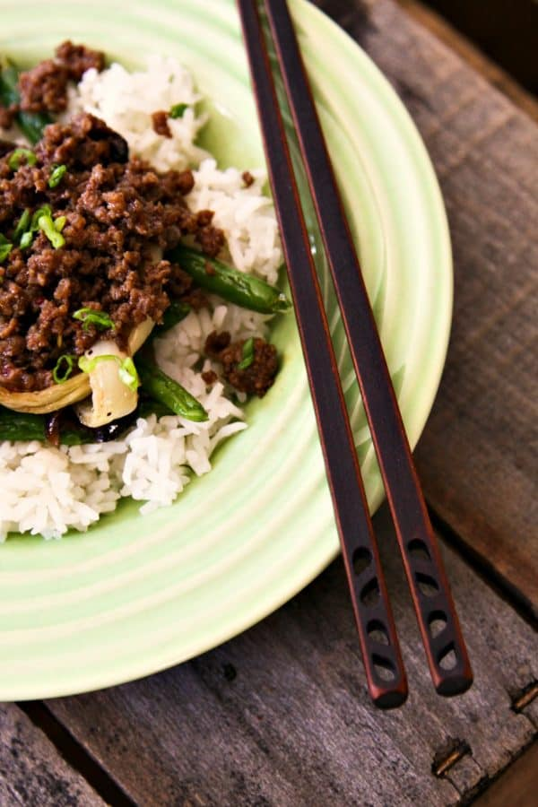 15 Minute Korean Style Beef over rice, roasted ginger sesame green beans, and roasted onions from foodiewithfamily.com