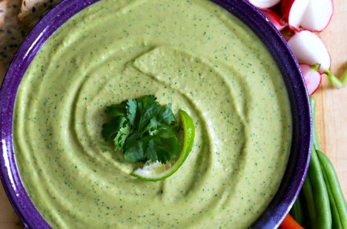 Cilantro Jalapeno Hummus for dipping and sandwich spread from foodiewithfamily.com