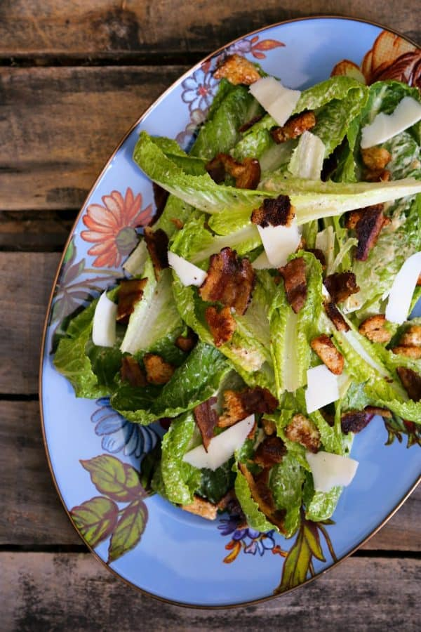 Jerk Bacon Caesar Salad from foodiewithfamily.com