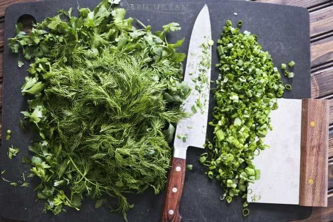 All the herbs for Persian Herb Frittata a.k.a. Kookoo Sabzi from foodiewithfamily.com