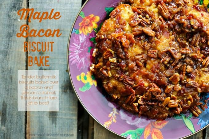 Pecan studded Maple Bacon Biscuit Bake from foodiewithfamily.com
