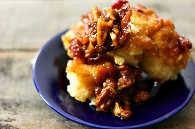 Tender buttermilk biscuits on maple brown sugar bacon caramel with pecans from foodiewithfamily.com
