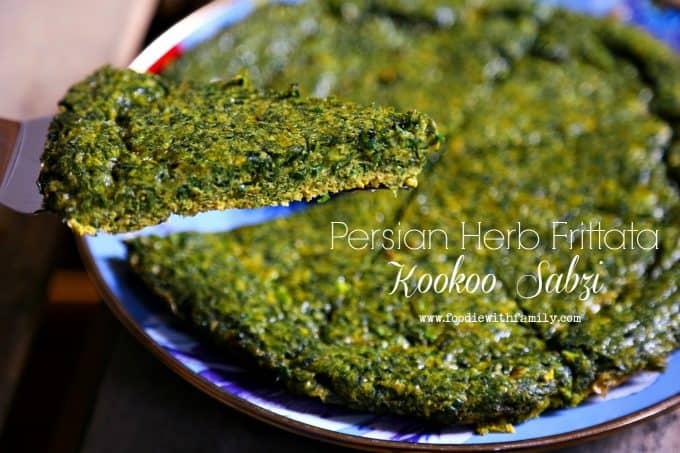 Persian Herb Frittata a.k.a. Kookoo Sabzi from foodiewithfamily.com