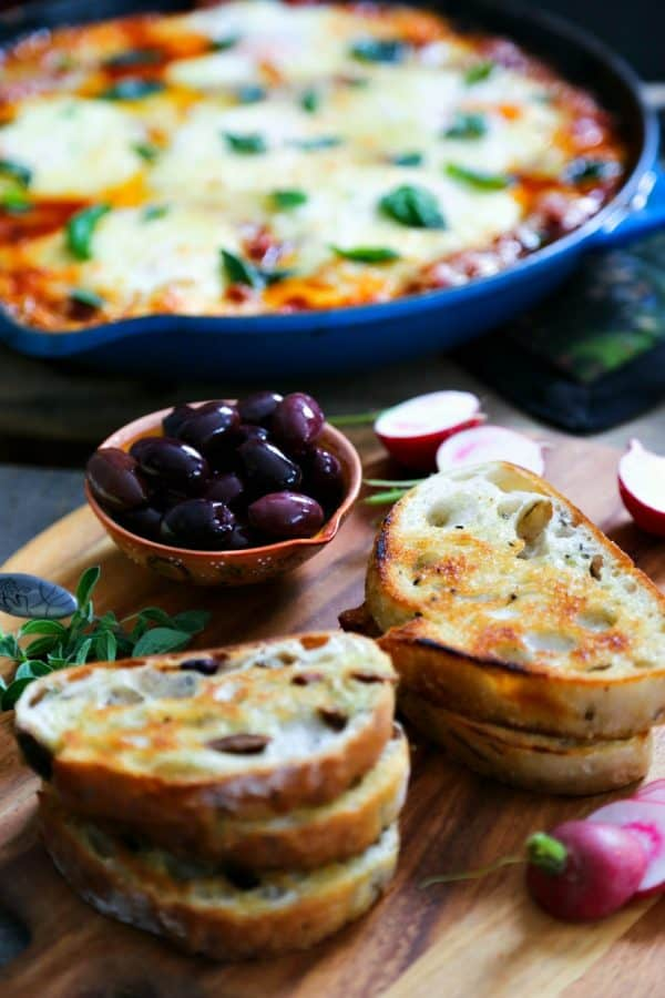 Rustic toast for Portuguese Style Baked Eggs from foodiewithfamily.com