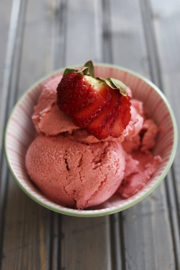 3 Ingredient Strawberry Ice Cream 5 minute method from foodiewithfamily.com