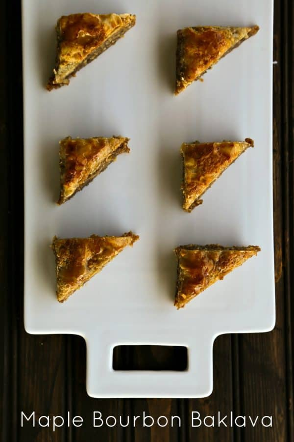 Maple Bourbon Baklava is like pecan pie meets dark maple syrup and takes a trip to the Middle East