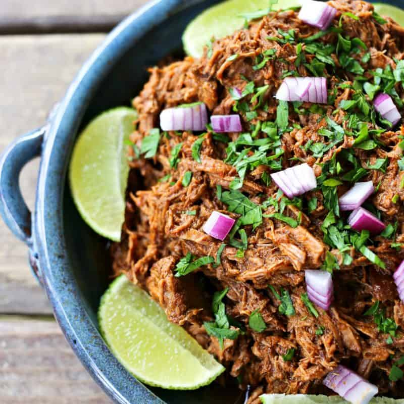 Slow-cooker crockpot Copycat Chipotle Barbacoa shredded beef