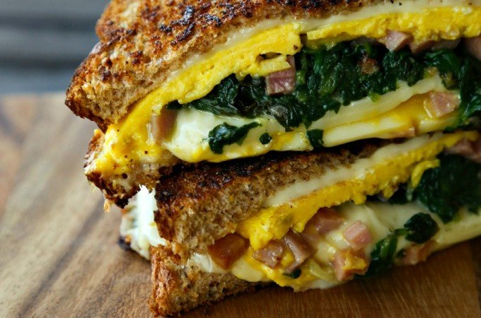 Spinach Omelet Grilled Cheese for #PinaMealGiveAMeal and @Landolakesktchn