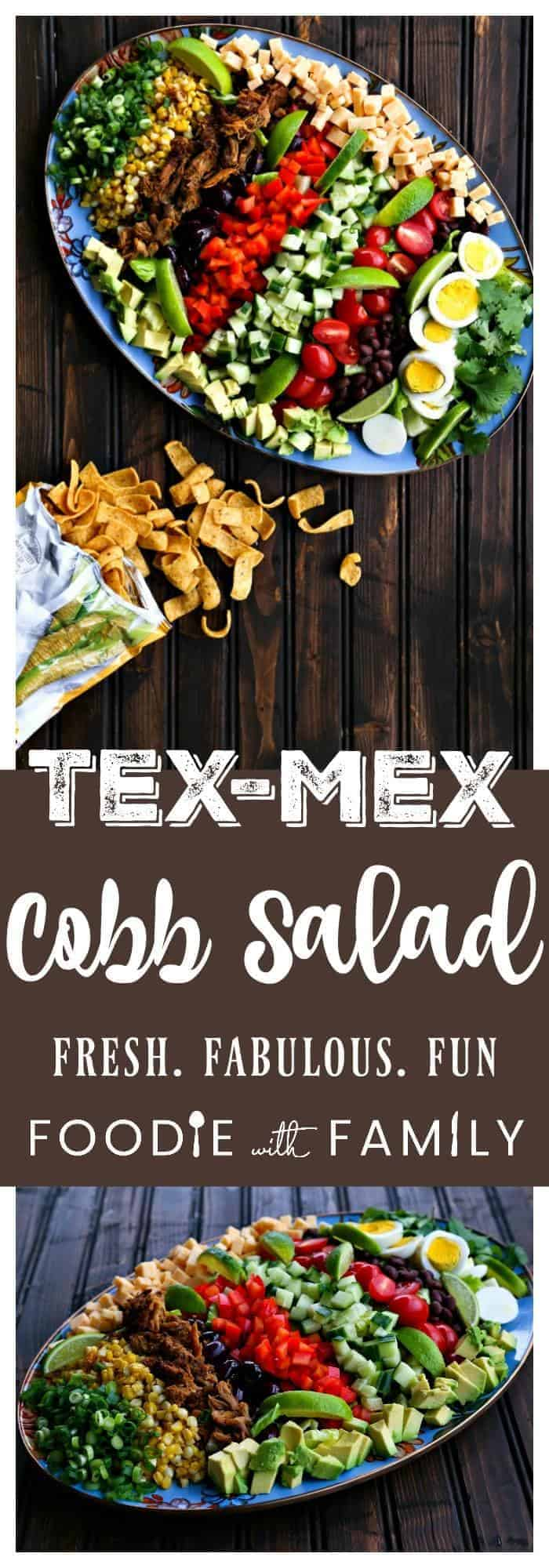 Tex-Mex Cobb Salad is crispy romaine absolutely bursting with green onions, roasted corn, crispy carnitas, bell peppers, cucumbers, tomatoes, hard boiled eggs, avocados, and lime juice. This is a serious and seriously fun salad!
