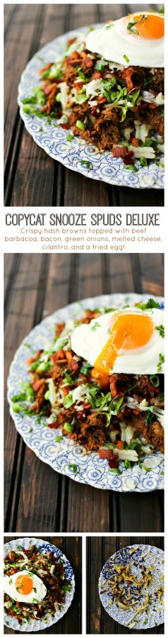 Copycat Snooze Spuds Deluxe: hash browns with cheese and meat and a fried egg