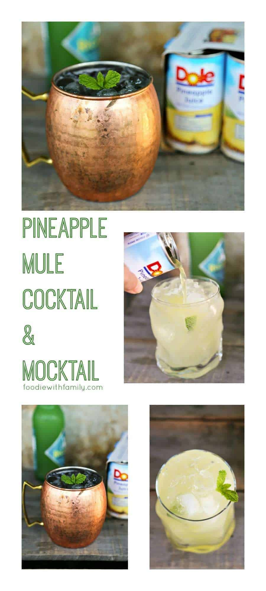 Pineapple Mule Cocktail and Mocktail to please them all