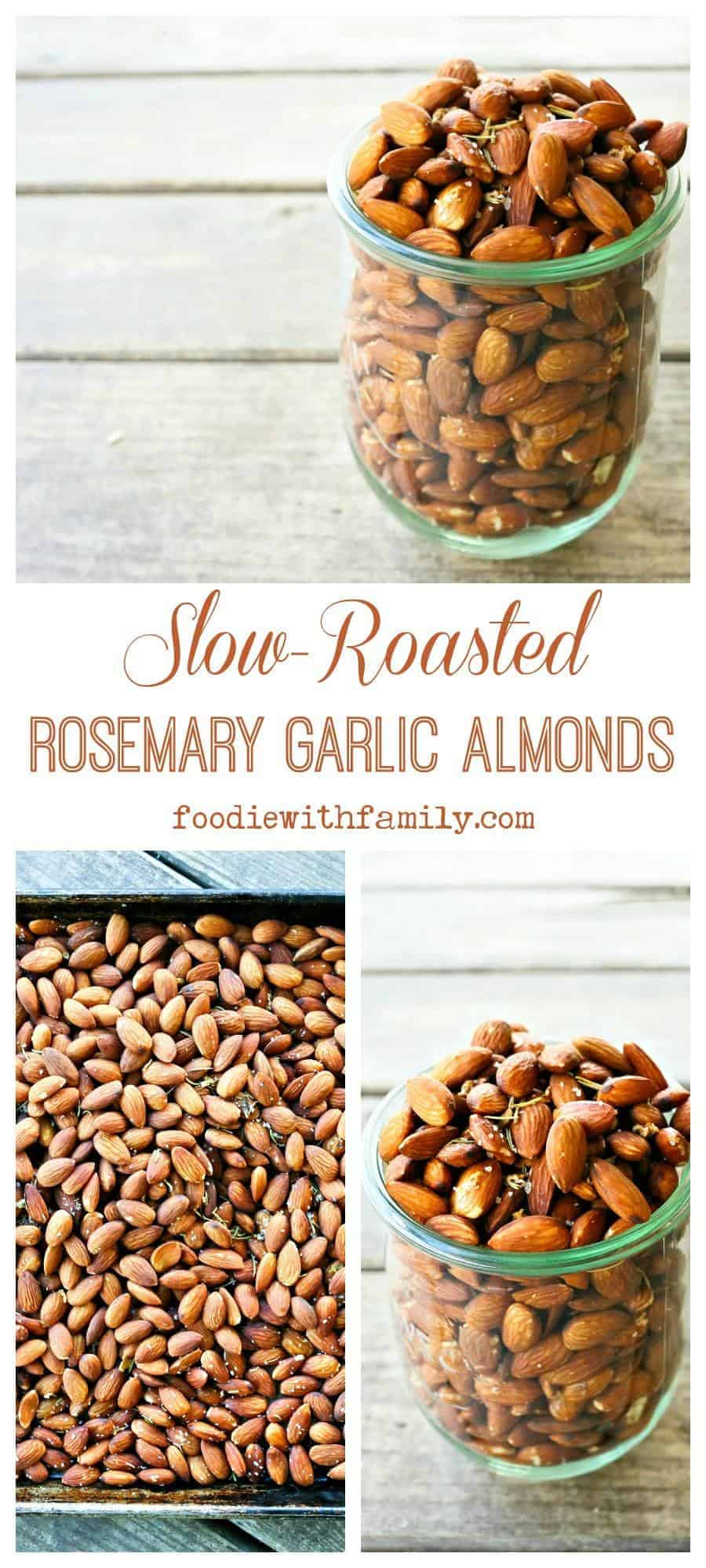 Slow-Roasted Rosemary Garlic Almonds are a simple, satisfying, healthy snack.