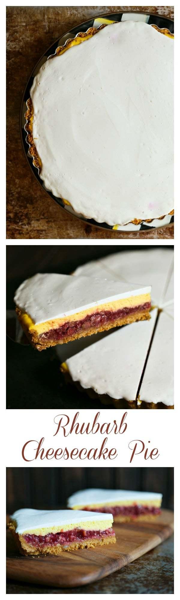 Rhubarb Cheesecake Pie for #DairyMOOnth