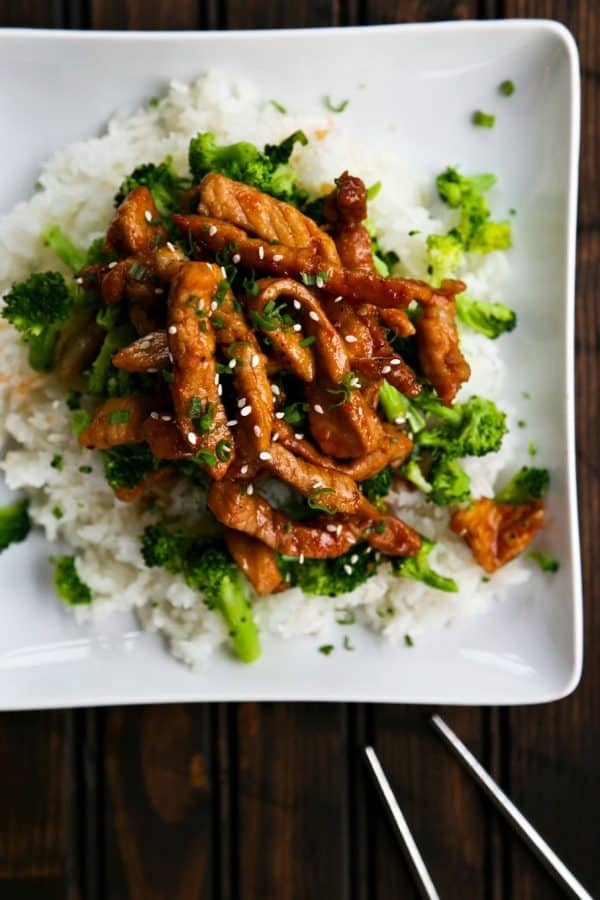 Easy Garlic Ginger Glazed Sticky Pork is a tremendously flavourful and fast dinner that beats take-out any day of the week.