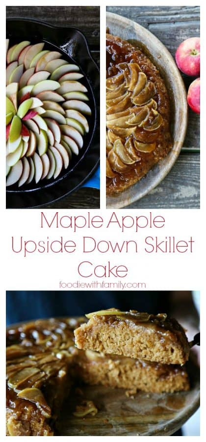 Maple Apple Upside Down Skillet Cake from foodiewithfamily.com #Vegan