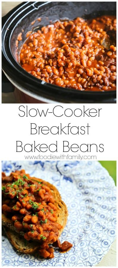 Maple and coffee flavoured Slow-Cooker Breakfast Baked Beans full of Canadian Bacon and breakfast sausage from foodiewithfamily.com