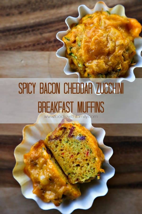 Spicy Bacon Cheddar Zucchini Breakfast Muffins from foodiewithfamily.com