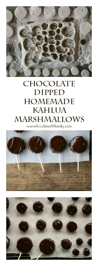 Chocolate Dipped Homemade Kahlua Marshmallows from foodiewithfamily.com