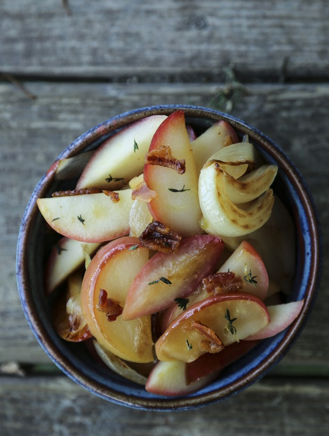 Bacon Fried Apples and Onions