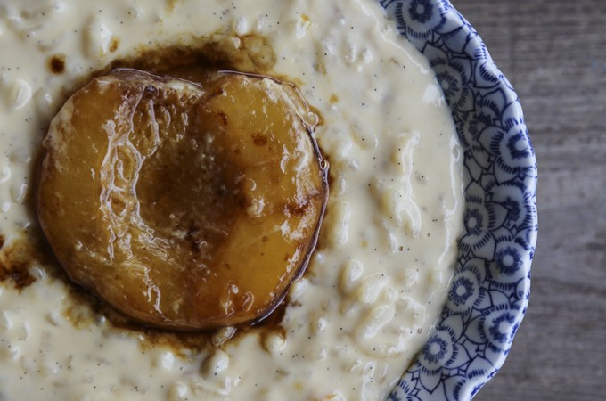 Modern Peaches and Cream Rice Pudding from foodiewithfamily.com