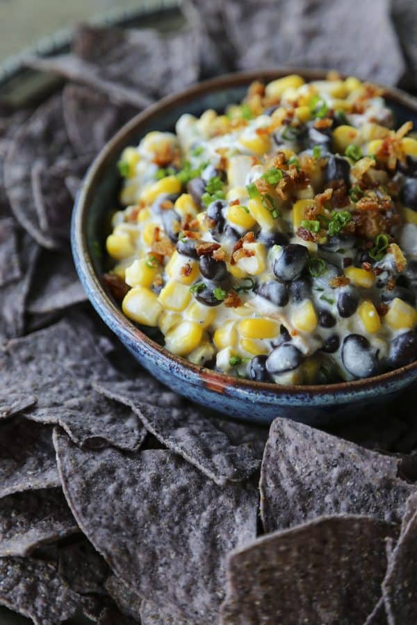 Slow-Cooker Black Bean Corn Bacon Dip from foodiewithfamiy.com