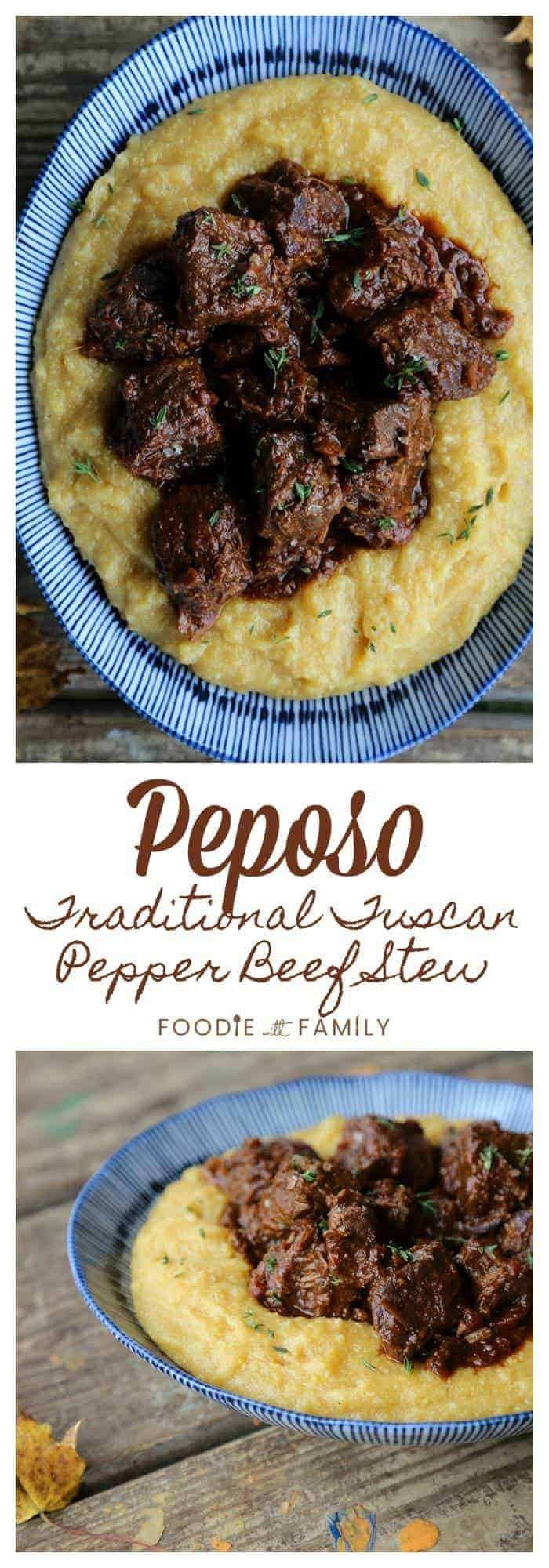 Fall-apart tender cubes of beef braised in a gently garlicky, bold red wine and black pepper sauce make the traditional Tuscan Peposo - Peppered Beef Stew.