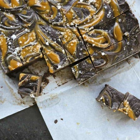 Easy Salted Caramel Fudge with a hint of bourbon from foodiewithfamily.com