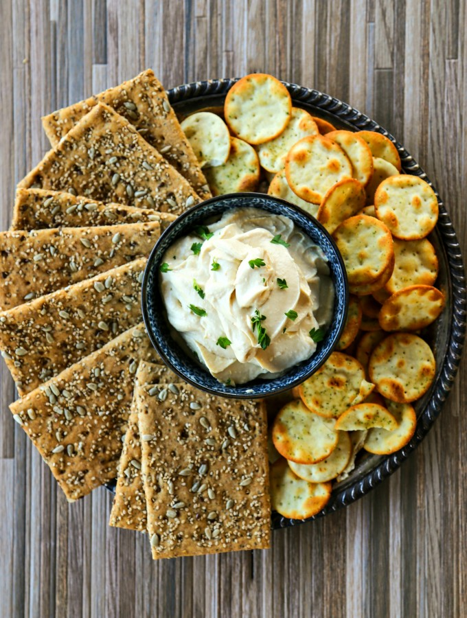 Whipped Roasted Garlic Feta Hummus in partnership with @Sabradippingco