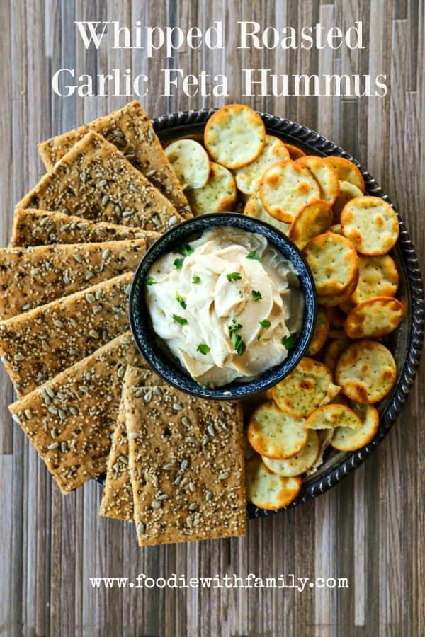 Whipped Roasted Garlic Feta Hummus in partnership with @Sabradippingco