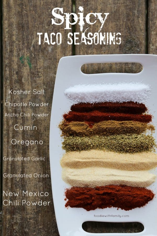 Spicy Taco Seasoning is simple and worlds tastier than commercial mixes. foodiewithfamily.comSpicy Taco Seasoningwith New Mexico, Ancho, and Chipotle chili powders is simple and worlds tastier than commercial mixes. foodiewithfamily.com