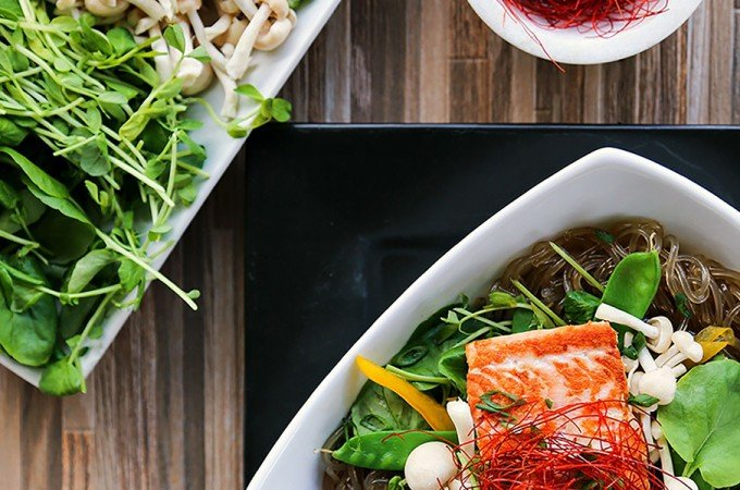 Salmon + Greens Asian Noodle Bowls